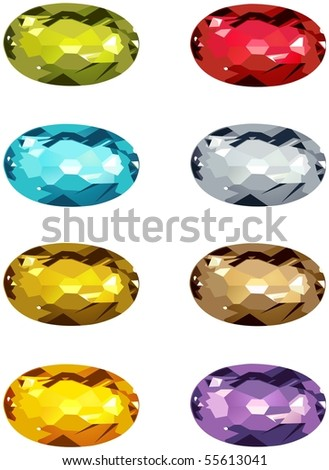 A selection of colored gemstones, featuring some less common colors.
