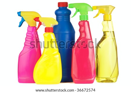 A selection of colorful cleaning equipment on a white background - stock photo