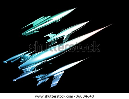 A selection of different styled retro rockets on a plain black background. - stock photo