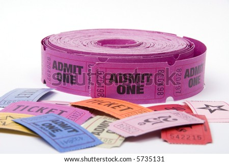 A selection of entrance tickets shot against a white background - stock photo