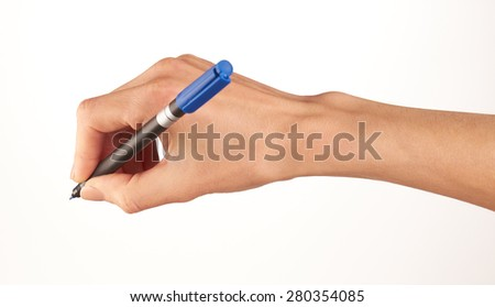 A selection of female hands holding different coloured marker pens.