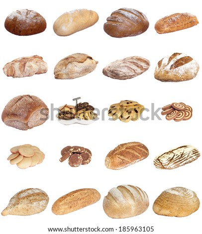 A selection of freshly baked bread, baps and cakes isolated on a white background. - stock photo