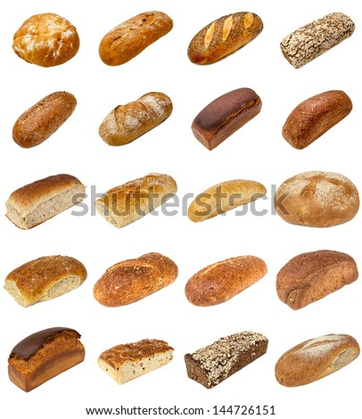 A selection of freshly baked bread isolated on a white background. - stock photo