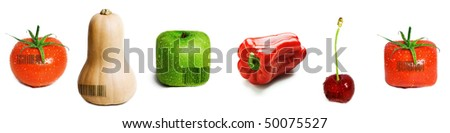 A selection of fruit and veg with barcodes on them isolated on white. - stock photo