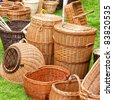 A selection of hand crafted wicker baskets for many uses. - stock photo
