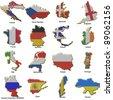 a selection of images showing metal pin badges of map shaped flags of all the competing countries of the 2012 european championship football tournament. - stock photo