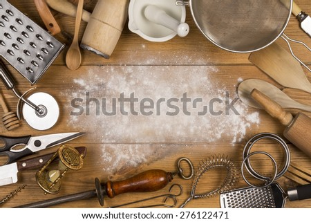 A selection of Kitchen Utensils with Space for Text - stock photo
