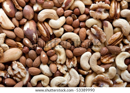 A selection of nuts: close-up - stock photo