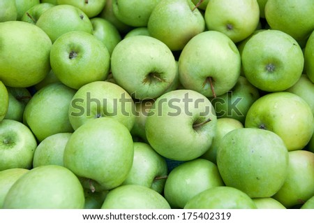 A selection of organic green apples at the market - stock photo