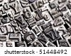 A selection of random letterpress type characters - typography - stock photo