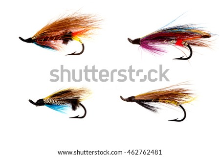A selection of salmon fishing flies isolated on white background
