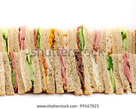 A selection of Sandwiches with various fillings at a buffet with text area - stock photo