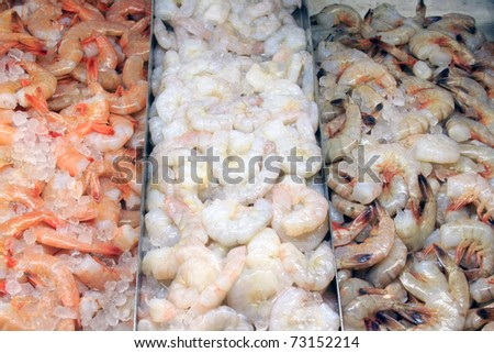 A selection of shrimp at a fish market - stock photo