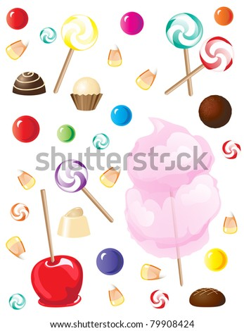A selection of sweets and candies isolated on white background. Also available in vector format