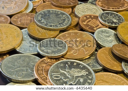A selection of UK Sterling coins - stock photo