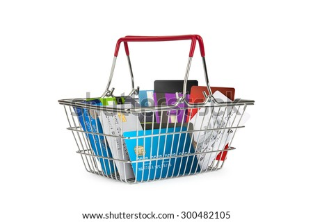 A selection off credit cards,bank cards and store cards in a shopping basket - stock photo