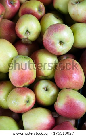 A selections of apples at the market - stock photo