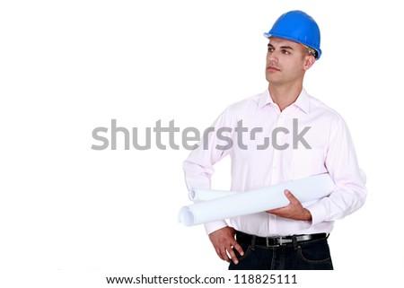 A self-assured engineer - stock photo