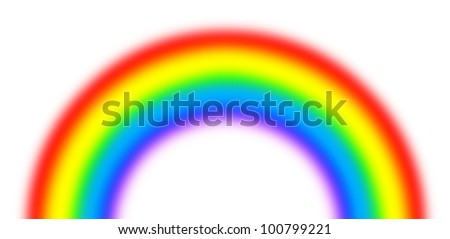A semi-circle of the rainbow on a white background