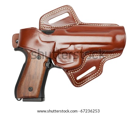 ... leather holster, isolated on a pure white background. - stock photo