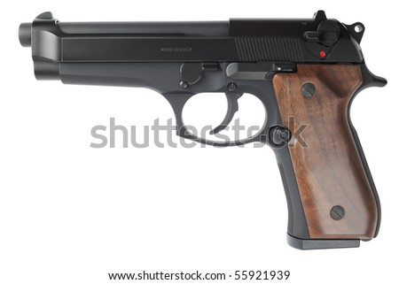 A semiautomatic handgun isolated on a pure white background - stock photo