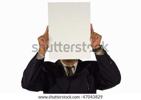 a senior African-American businessman holding a picture board with copy space in front of his head, isolated on white background - stock photo