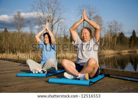 A senior asian couple meditating and practicing yoga - stock photo