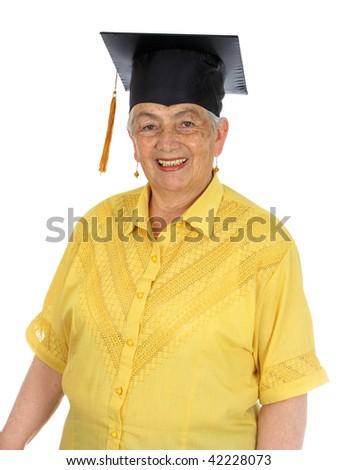 A senior caucasian graduation over white background - stock photo