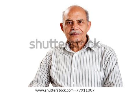 A senior Indian / Asian man - isolated on white - stock photo