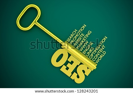 a seo concept with key - stock photo