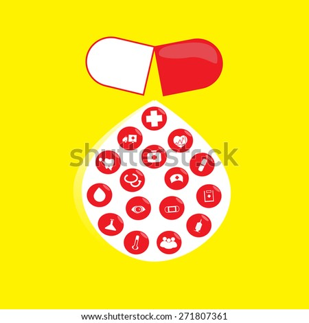 A separate tablet  16 medical icons on white drop yellow background - stock photo