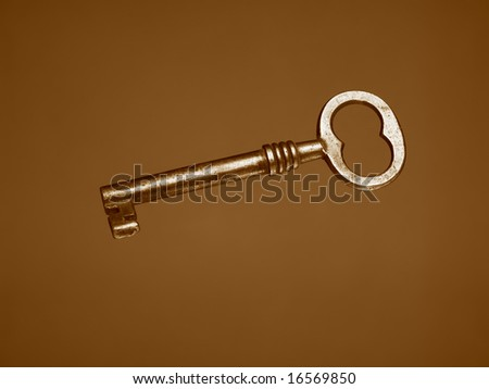 A Sepia toned photograph of an old key
