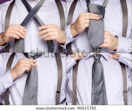 A sequence of four photos showing a man in various stages of tying a necktie. - stock photo