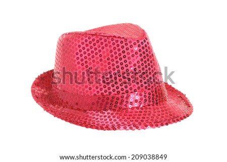 A sequin pink hat on white background - stock photo
