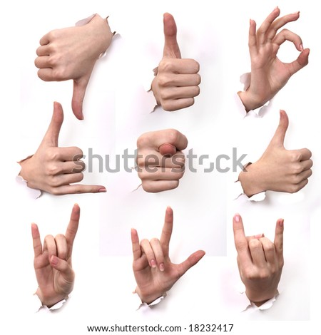 A series Gestures of hands . A part 12 - stock photo