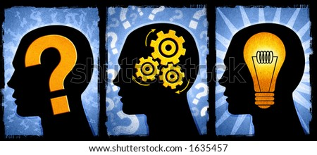 A series illustrating a question, thinking of a solution and the idea to solve the problem. For larger images you can download them all separately. - stock photo