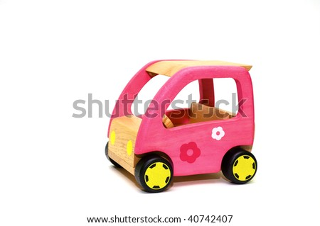 A series, life of wooden toys, the car for dolls - stock photo