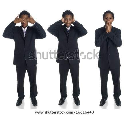 A series of a businessman in the See No Evil, Hear No Evil, Speak No Evil poses. - stock photo
