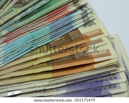 a series of banknotes - various currencies
