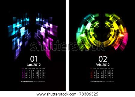 A Series Of Calendars Magic Light. January and February 2012 - stock photo