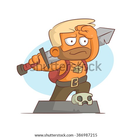 A series of characters on the theme of role-playing games. Vector illustration.Berserk - stock photo