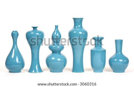A series of 6 chic modern blue vases - stock photo