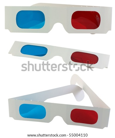 A series of 3D glasses, isolated on background