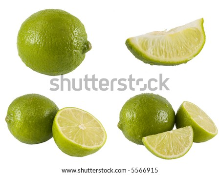 A series of fresh limes isolated on a white background. The full resolution photo of each can be fround in my portfolio. - stock photo