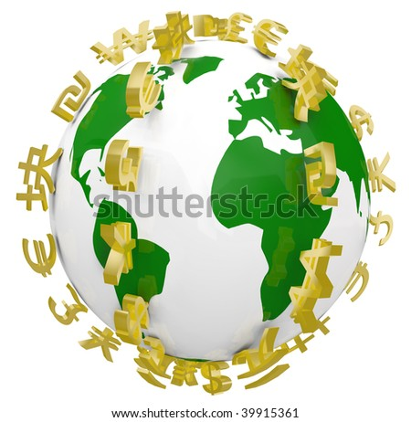 A series of global currencies ringing the planet Earth - stock photo