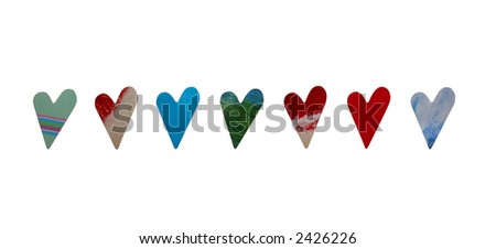 A series of hearts with different patterns and textures. - stock photo