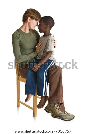 A series of images showing a young African American boy with a Caucasian woman. Isolated on white.