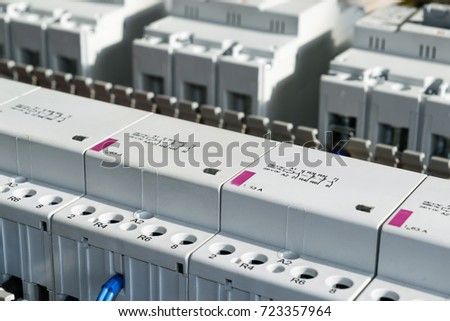 Series modular magnetic contactors range power stock photo image a series of modular magnetic contactors and a range of power circuit breakers between the asfbconference2016 Choice Image