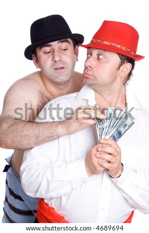 A series of photos about cheerful swindlers - stock photo