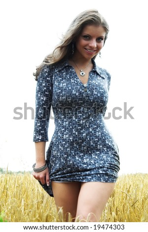 A series of photos of the girl on a grain field - stock photo